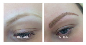 Permanent eyebrow before and after